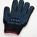 Перчатки Люкс черные с ПВХ (Протектор)