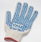 Перчатки Эконом белые с ПВХ (Точка)