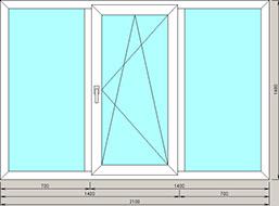трехстворчатое окно 2100x1400