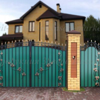 Ворота кованые для дома МПА Лоза