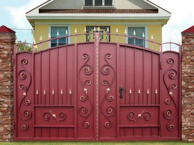 Ворота Боярские узорные со встроенной калиткой