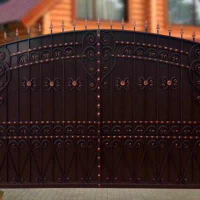 Ворота Узорные зашитые листом