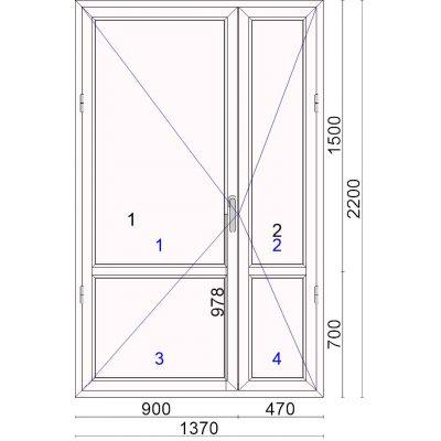 Окно 1370,00 x2200,00