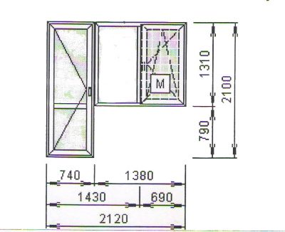Балконный блок 1380x2100 мм