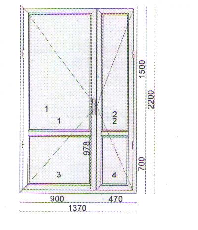 Дверь штульповая 1370x2200