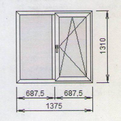 Оконный блок 1375x1310 мм